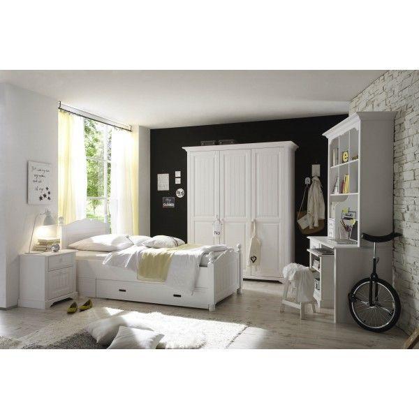 Jugendzimmer Set Bett In 90 X 200 Cm Kiefer Teilmassiv Weiss Lackiert Woody  19 00515