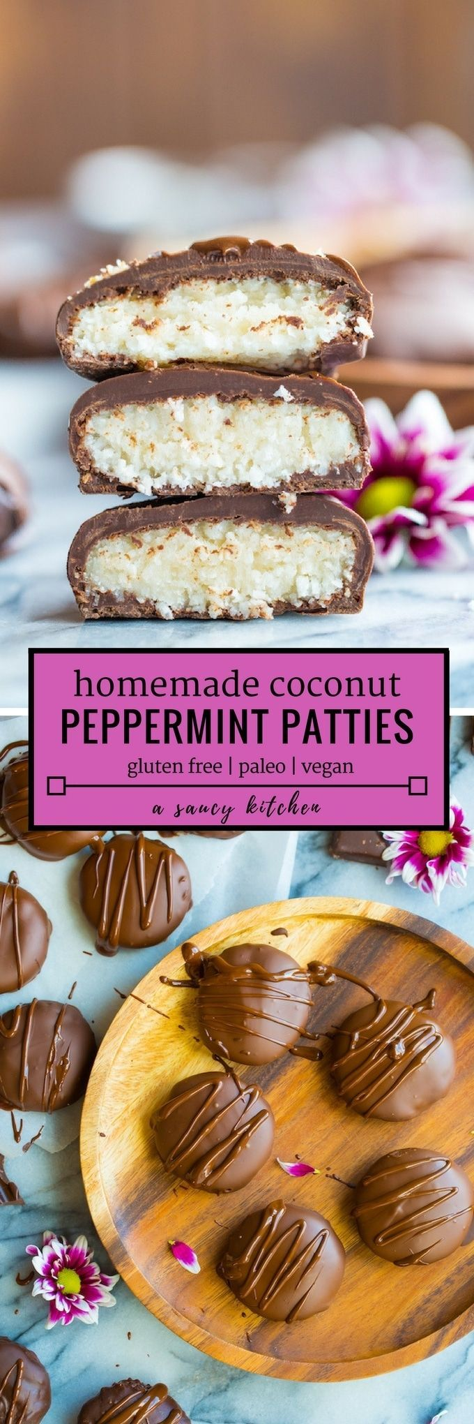 Only five ingredients needed to make these Homemade Coconut Peppermint Patties | #GlutenFree + #Paleo + #Vegan