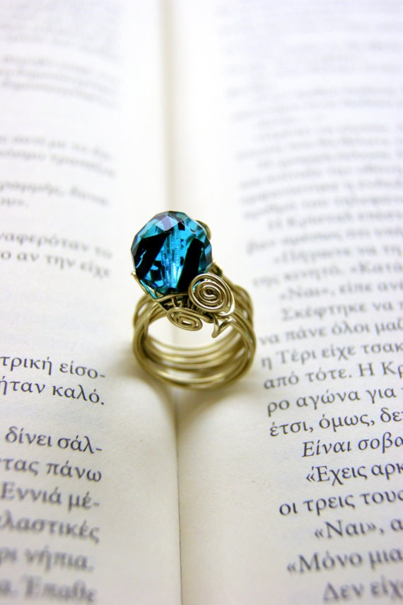Wire ring with gemstone by RenatasArt on Etsy, €13.00