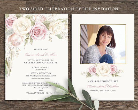 Floral Funeral Invitation Celebration Of Life Invites Etsy Memorial Cards For Funeral Funeral Cards Funeral Templates