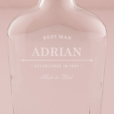 Old School Personalized Vintage Inspired Clear Glass Flask
