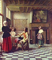 Interior con una mujer bebiendo en compañía de dos hombres por Pieter de Hooch. A través de la transparencia de la falda de la mujer de la derecha y de la capa del hombre, a medida que pason los años se aprecia las baldosas pintadas anterioremente como fondo de la pintura.