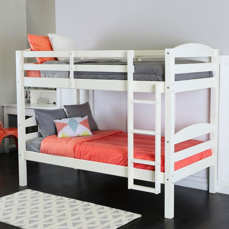 Walker Edison Twin Over Twin Solid Wood White Bunk Bed (Twin Over Twin Solid Wood Bunk Bed - White)