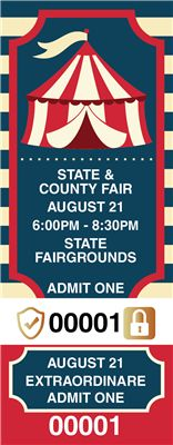State and County Fair Tickets with Foil Security Features