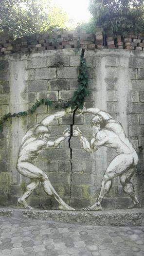 street art fissure mur