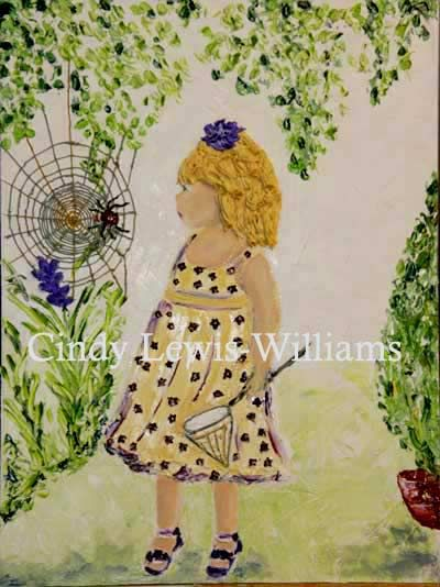 Web, flowers, hair all in icing art in oil paint by Cindy all this art was done in 2013