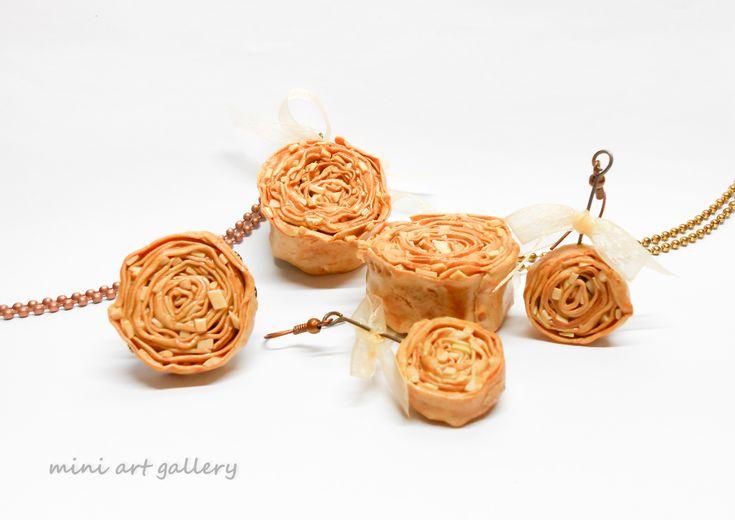 Saragli Baklava Traditional Xanthi' s dessert – treat / handmade polymer clay mini food jewelry / sweet treat savory / traditional Greek dessert. by Mini Art Gallery.