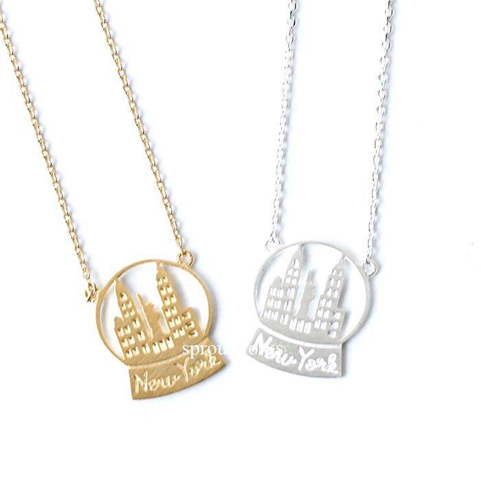 new york  necklace, new york skyline necklace, city necklace, snowball, souvenir necklace, skyline necklace, newyork snowball, new york by sproutworks on Etsy