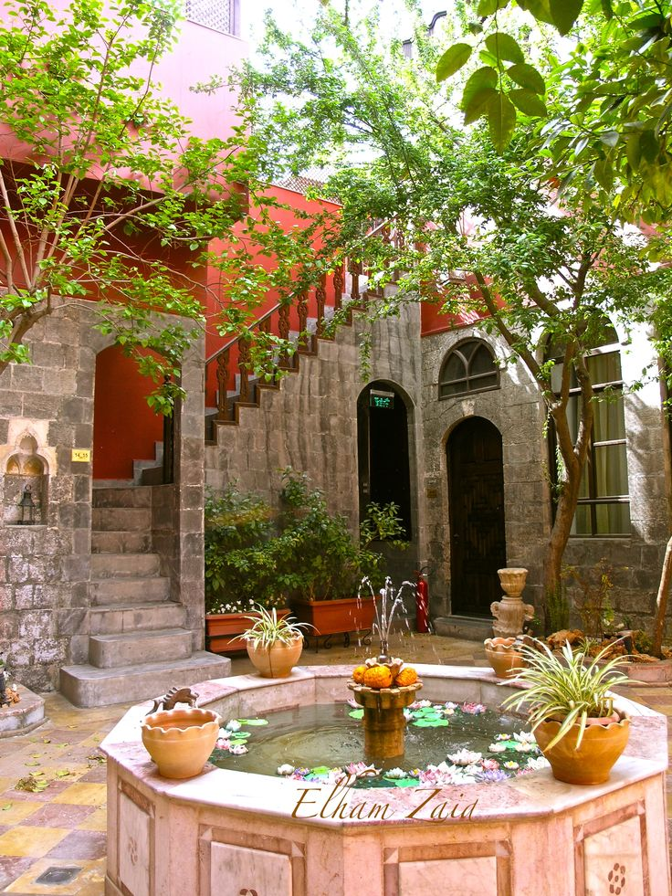 Syria, Damascus. This is in old Damascus, an old traditional house converted to a hotel called Talizman. Elham Zaid.