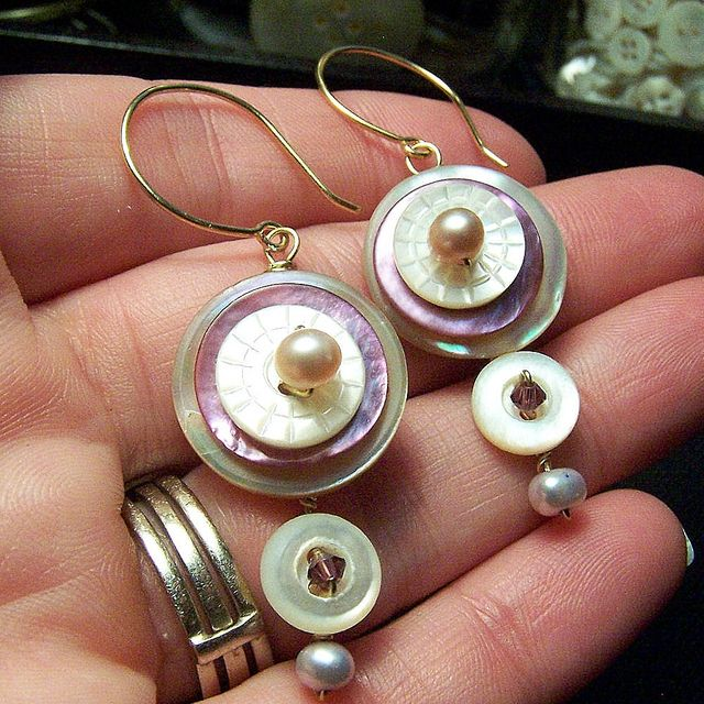 Antique Button Jewelry - Earrings by Alterity Art, via Flickr. If you like unique handmade button jewelry, visit the online Etsy store of A Pinch of Panache. New jewelry is made weekly! https://www.etsy.com/shop/APinchofPanache