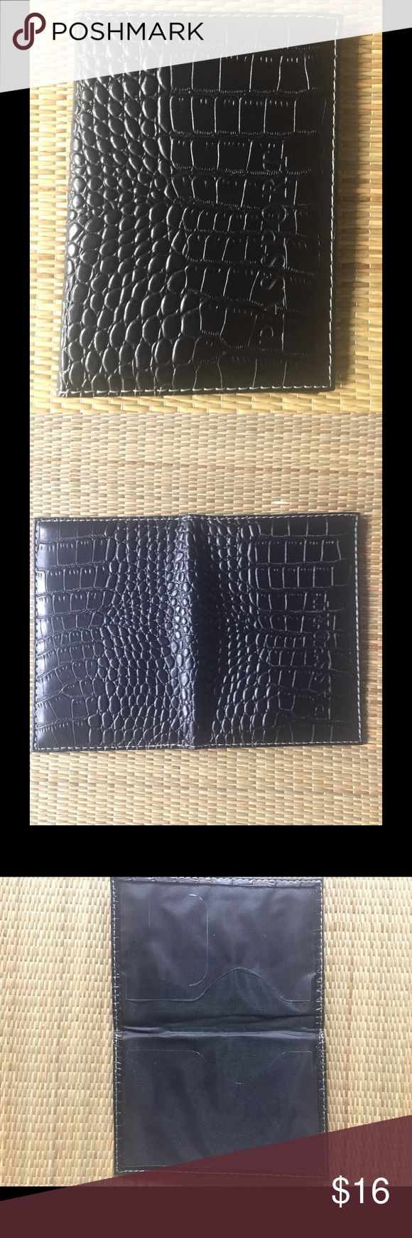 BLACK PASSPORT CARRIER  black passport carrier. Faux crocodile leather passport holder. Easy to clean & access passport, contains pockets inside for ID & passport. Imported faux leather. Reasonable offers/bundles welcome, no trades or holds. M environment is clean/organized/pet/smoke free. Please feel free to make any inquires, all sales are final on PM. Thank you for shopping my boutique. #poshstyle DARLING Accessories