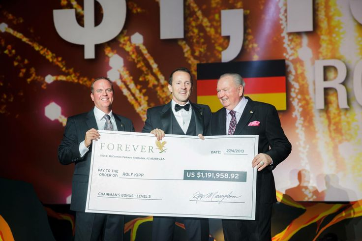 FOREVER RICH LIST: Rolf Kipp - $1,191,958.92.  The largest cheque ever given out in the history of Forever went to Rolf Kipp an amount well over a million dollars.  What would you do with a million dollar bonus? Achieve your dreams with Forever.  #FGR14
