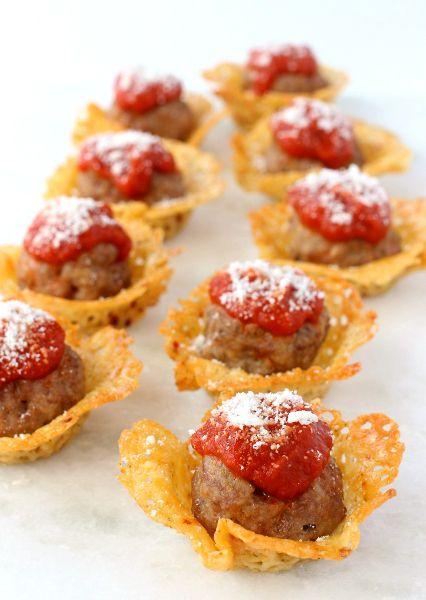 Meatballs served in a havarti cheese crisp cup. The perfect, bite-sized appetizer! #castellohavarti