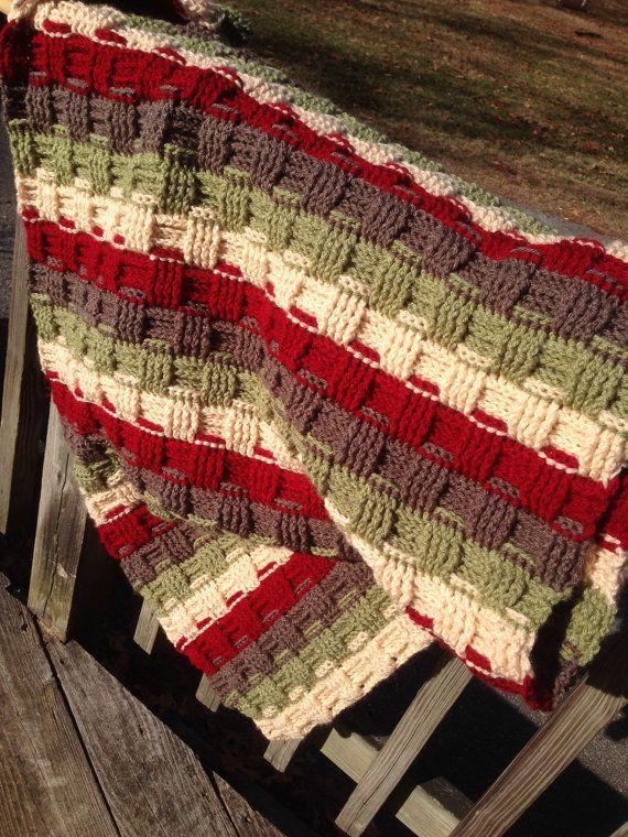 Crochet Basket Weave stitch blanket by DeborahsDreamHats on Etsy