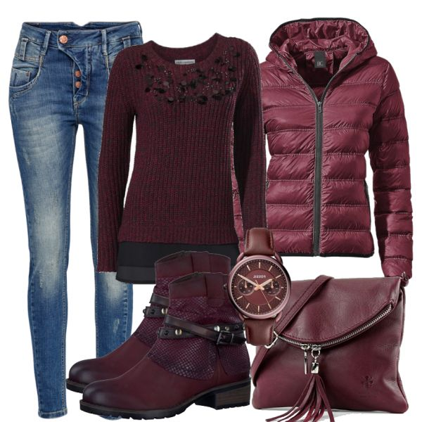 Autumn Outfits: RedWine at FrauenOutfits.de