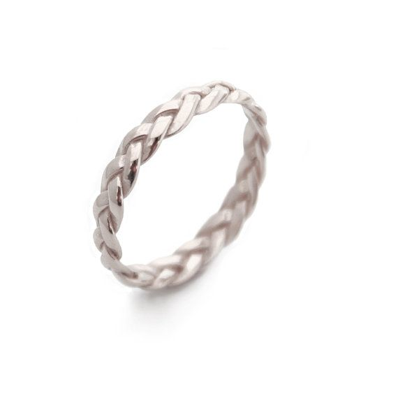 White Gold Wedding Band Braided White Gold Band White by MayaMor