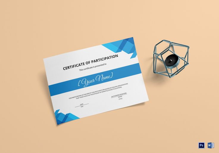 Sailing Participation Certificate Template  $9.99  Formats Included : MS Word, Photoshop  File Size : 11.69x8.26 Inchs #Certificates #Certificatedesigns #Participationcertificates