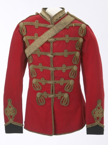 1878 Canadian North-West Mounted Police Officers Full Dress Tunic and Accoutrements: Original pattern for an Inspector, and is based on the British 13th Hussar's uniform. It was owned by Inspector W.D Anrobus. Glenbow Museum / taf