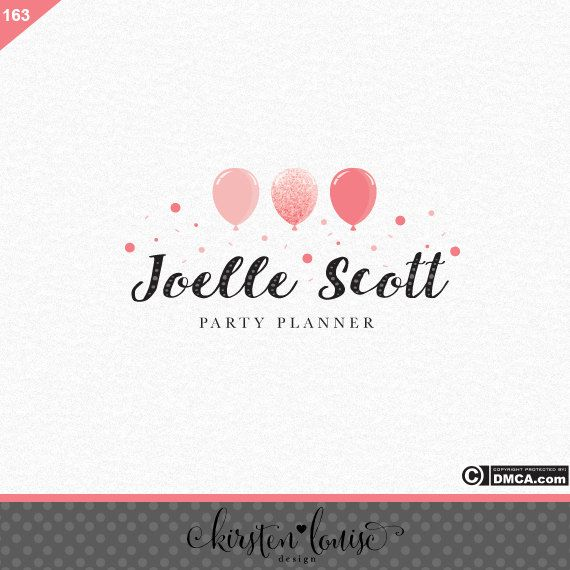 Premade Party Planner Logo Event Planner Logo by KirstenLouiseDesign