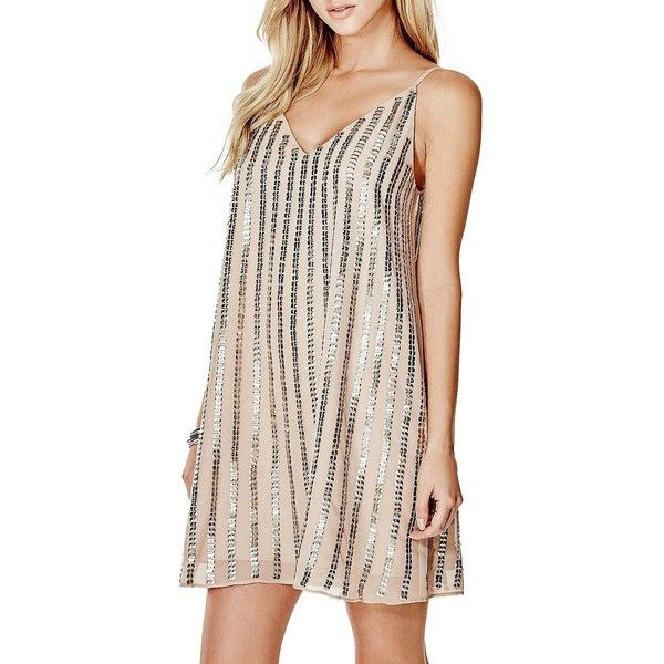 Guess Beaded Trapeze Dress ($118) ❤ liked on Polyvore featuring dresses, tan, sleeveless swing dress, polish dress, beaded dress, shining dress and shiny dress