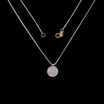 Gargantilha de Prata com-Zircônias e Banho de Ouro.
