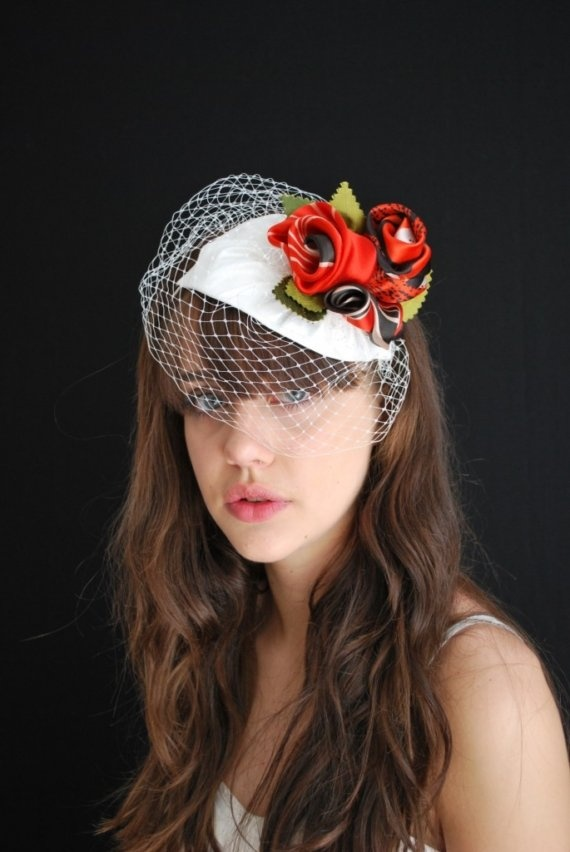 Bridal headdress with red roses $180