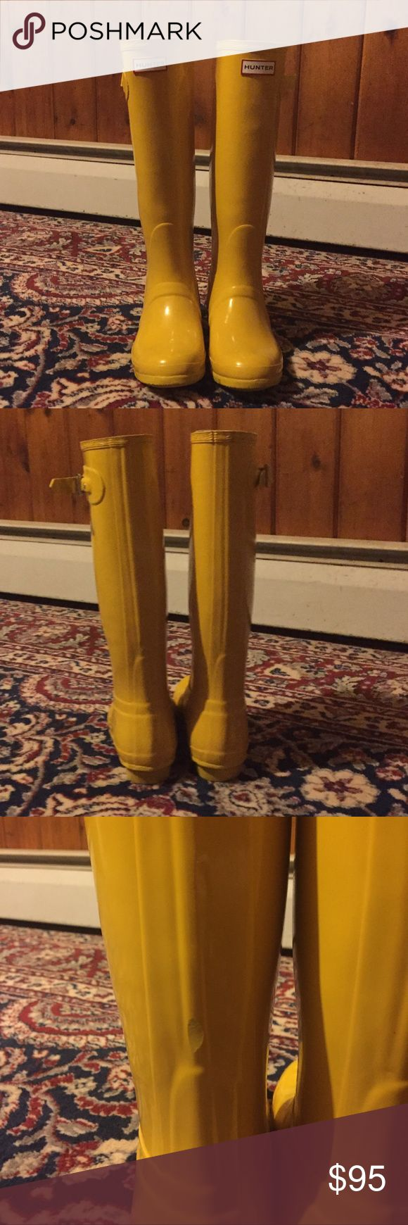 Yellow Hunter Rain Boots Awesome condition like new yellow tall hunter rain boots! Purchased from another posher but they were the wrong size, only tried them on! Will accept reasonable offer! Hunter Boots Shoes Winter & Rain Boots
