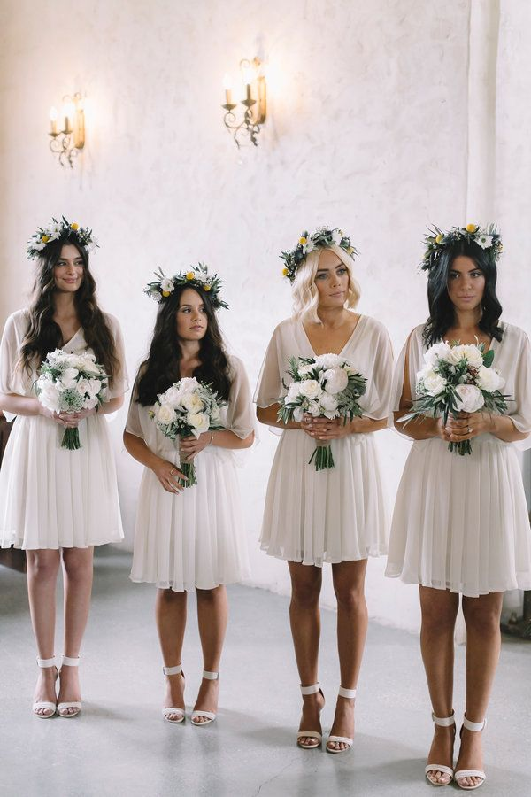 Stunningly simple bridesmaid dresses with floral crowns | Love Katie and Sarah Photography