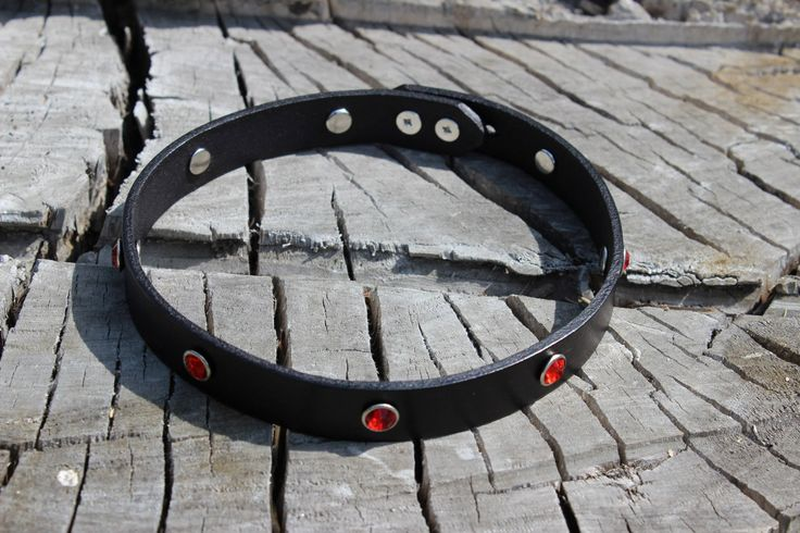 Leather Choker with Rhinestones by BDDSSMToys on Etsy