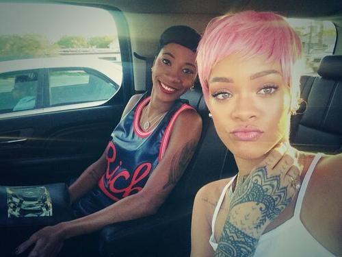Rihanna's pink hair.