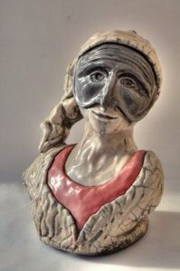"""Pulcinella"" ceramica Raku  By Umberto De Mattia"