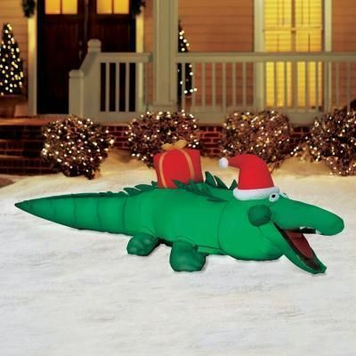 7 5 39 alligator gemmy airblown inflatable blow up christmas for Alligator lawn decoration