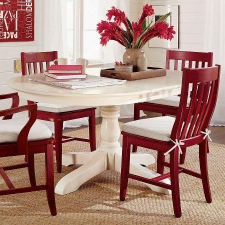 Love a Pedestal Dining Table  white table  red chairs   for a kitchen100 best Dining Tables   Chairs   Chalk Paint Ideas images on  . Red Dining Chairs And Table. Home Design Ideas