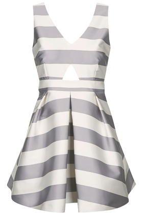 PETITE Cut-Out Stripe Prom Dress