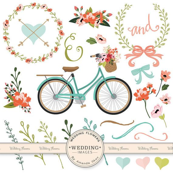 Premium Wedding Clipart Bicycle Clipart Wedding by AmandaIlkov, $4.99