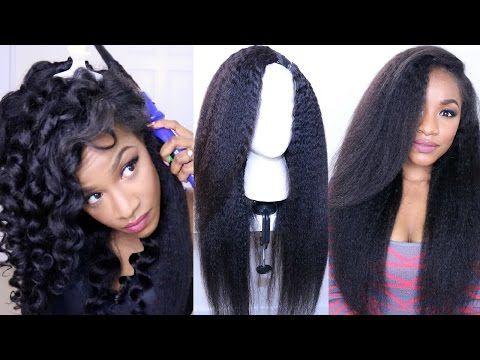 How to Style Kinky Straight Hair⎮DIY Hot Glue Gun Wig (BestLaceWigs) - YouTube