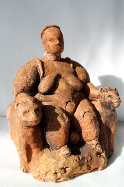 EARLY NEOLITHIC - Seated Mother Goddess, c. 6500.  Çatal Höyük, Turkey.