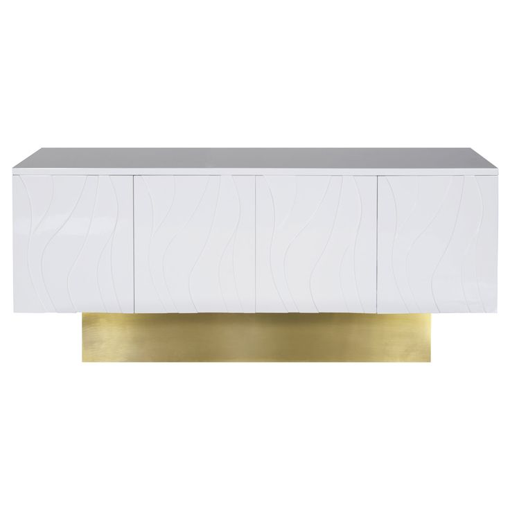 """The Worlds Away Valerie console delivers sleek modern style. On a brushed brass pedestal base, this white lacquer storage furnishing's subtle wave detailing lends unique appeal. Four push-latch doors; One adjustable interior shelf; Clean with soft, dry cloth; 68""""W x 21""""D x 31""""H"""