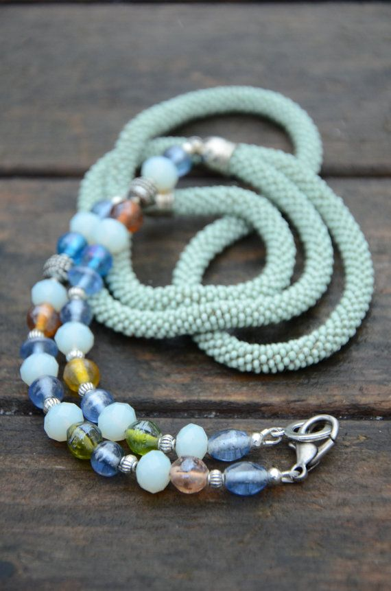 Handmade crocheted necklace -  lobster clasp.