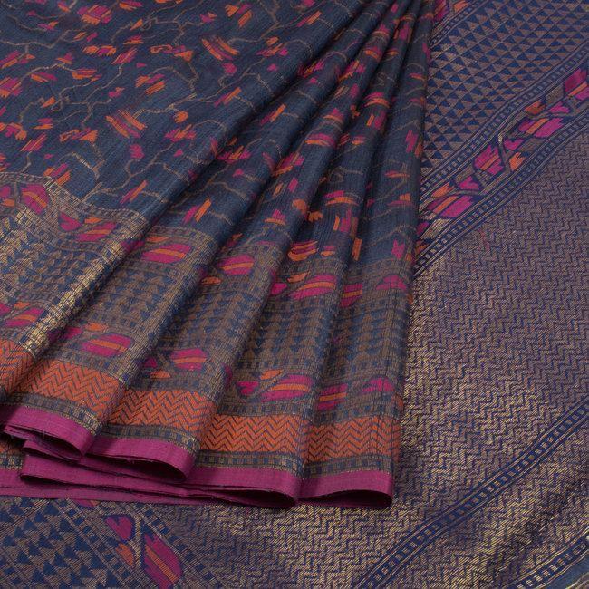 Handwoven Greyish Blue Banarasi Kadhwa Tussar Silk Saree With Meenkari Design 10013344 - AVISHYA.COM