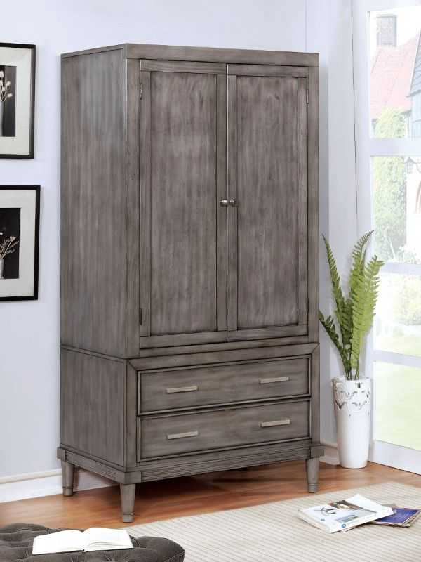 Cm7556ar Daphne Gray Finish Wood Clothing Armoire Stand Alone