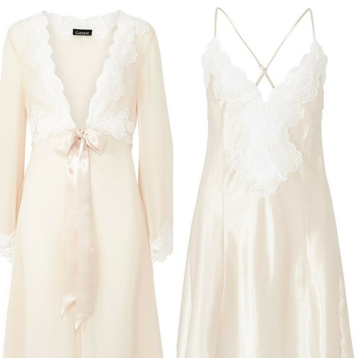 "Gaspe Long 50"" Satin & Lace Nightdress & Wrap - Raspberry - Champagne S/M/L/XL"