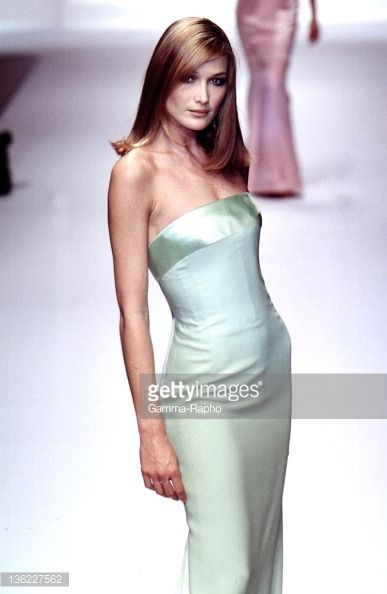 Model Carla Bruni walks the runway during the Valentino Ready to Wear Spring/Summer 1996 show as part of the Milan Fashion Week on October 16, 1995 in Paris,France.
