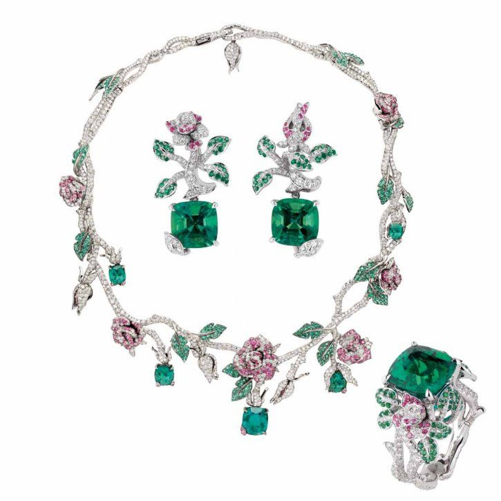 """""""Précieuses Rose"""" necklace, ring and earrings in white gold, diamonds, emeralds and pink sapphires by Dior Joaillerie"""