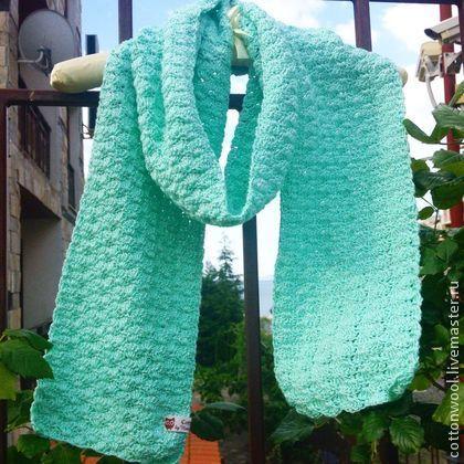 Шарфы и шарфики ручной работы. Ярмарка Мастеров - ручная работа Хлопковый шарф нежно-мятного цвета. Handmade.