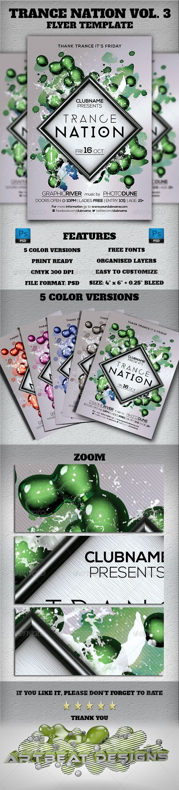 "Trance Nation Vol. 3 Flyer Template  #GraphicRiver        Trance Nation Vol. 3 Flyer Template  	 Everything in the PSD file is well organized and grouped. You can easily change the text and fonts.  Feauters     Color profile: CMYK 300 DPI   Print Ready!  Print dimension 4"" x 6"" with 0.25"" bleed    Color versions: (5 colors)  	 Choose one of the pre-made background colors. Available in: Blue, Green, Purple, Black and Red  Fonts:    Phantom: Download Nexa Light & Nexa Bold: Download  Social…"