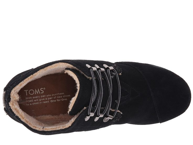 TOMS Desert Wedge Women's Wedge Shoes Black Suede W/Shearling