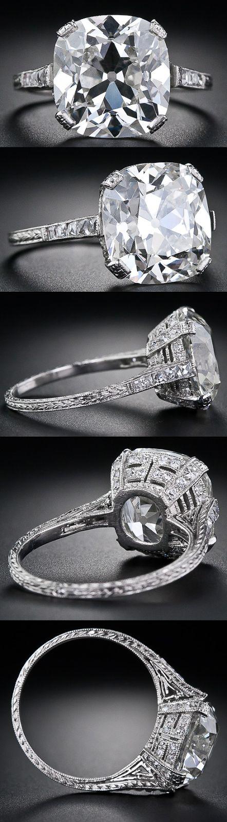 Multi-view: 6.48 carat antique cushion cut diamond ring. Via Diamonds in the Library.