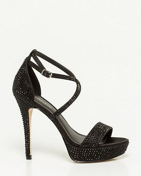 Satin Jewel Encrusted Platform Sandal