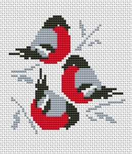 Trio Red Cardinals cross stitch pattern